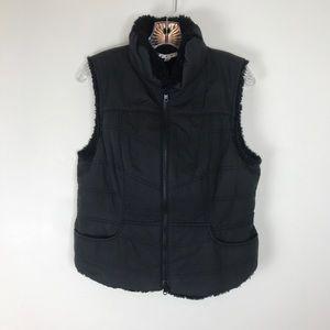 CAbi faux fur lined black pocket vest